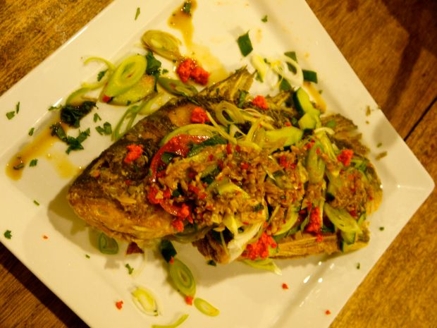 "Dads first deep fried bream- he done good. He managed to pull it off perfectly with instructions that were mainly Me: ""add some fish sauce, can you measure how much so I know how much for the blog post"", Dad: ""but how much"" Me: ""A good glug, then a bit of lime juice, you know, you'll work it out"""