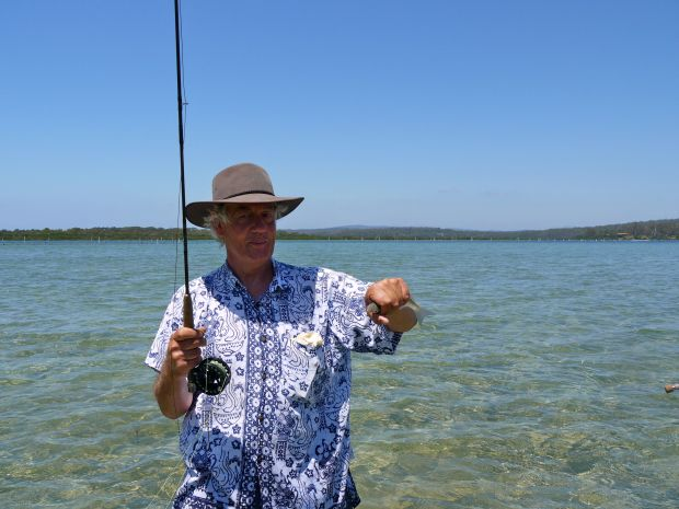 Dads first fish on fly- you can teach an old dog new tricks