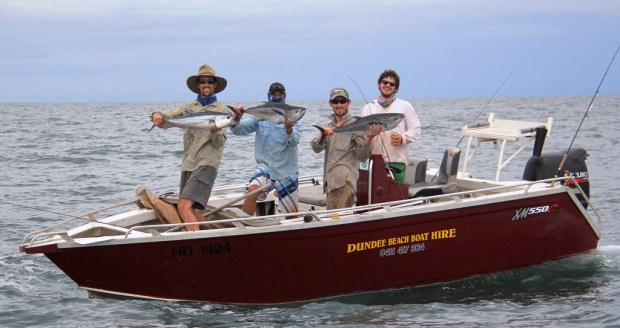 Triple hookups and big smiles. This boat got us to the action in comfort and had the space to handle the chaos.