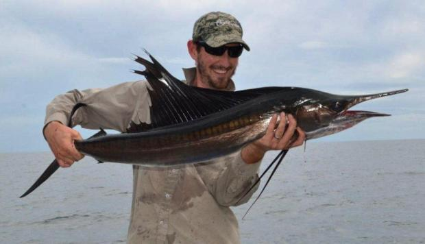 Perfect Day indeed - Lee's first sailfish - caught on a 40g slug!